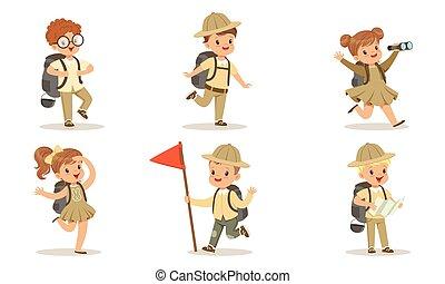 uniforme, adorable, gosses, equipement randonée, vecteur, camping, blanc, garçons, illustration, scouts, filles, collection, mignon, fond