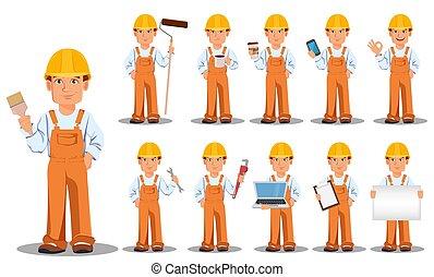 uniforme, beau, constructeur
