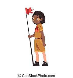 uniforme, debout, garçon, scoutisme, illustration, drapeau, caractère, vecteur, rouges, été, scout, gosse, neckerchief, activités, porter, camp