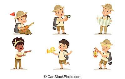uniforme, gosses, equipement randonée, camping, vecteur, blanc, garçons, illustration, scouts, filles, collection, mignon, fond