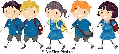 uniforme, gosses, promenade, école, stickman, australie