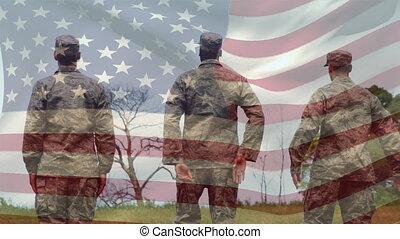 uniforme, militaire, drapeau américain, hommes