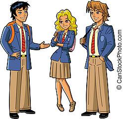 uniformes, étudiants, école