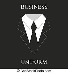 uniformes noirs, business, conception, complet, plat
