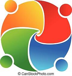 union, collaboration, logo, vecteur