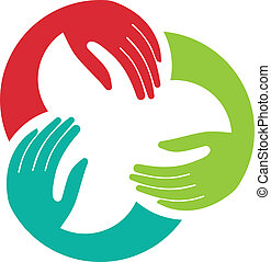 union, logo, image, trois, mains