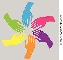 union, logo, mains, collaboration, gens