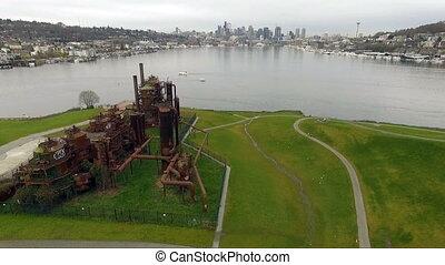 union, parc, lac, en ville, horizon, usine gaz, front mer, seattle