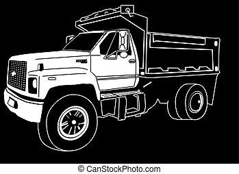 unique, camion, essieu, décharge