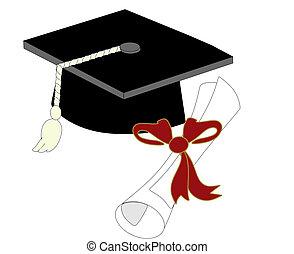 unique, casquette, diplôme, remise de diplomes