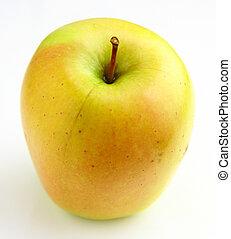 unique, fond blanc, pomme, jaune