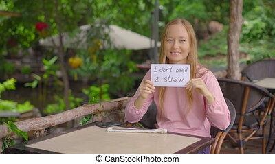 unique, refuses, plastique, straw., usage, café, concept, femme, réduire, besoin, prendre, boire, papier, signe, pas, tenue, jeune, single-use, elle