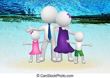 unité, 3d, logo, gens, famille