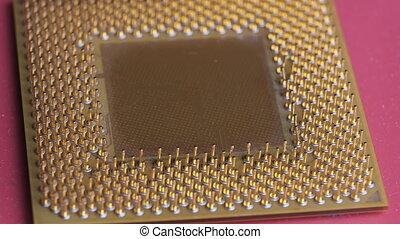 unité centrale traitement, rouges, plaqué, informatique, or, vieux, contacts, rotations, processeur, fond