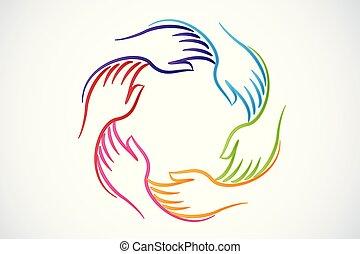 unité, gens, logo, collaboration, mains