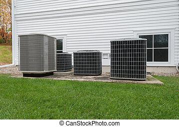 unités, conditionnement, extérieur, chauffage, air