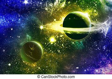 univers, galaxie, nebulas, planètes, étoiles