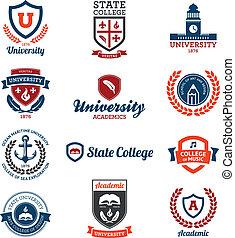 université, collège, emblèmes