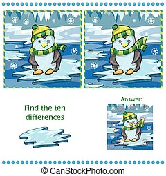 unny, différences, deux, glace, fond, entre, images, trouver, manchots