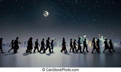 unrecognizable, marche, nuit, silhouette, gens