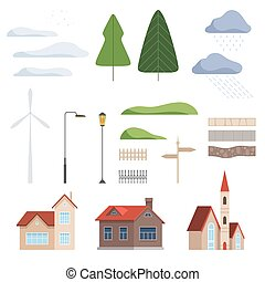 urbain, éléments, illustration, vecteur, conception, collection, constructeur, paysage