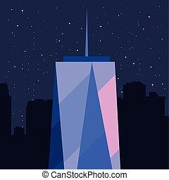 urbain, étoiles, ville, gratte-ciel, fond, nuit