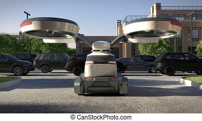 urbain, 4k., animation., air, environment., transport, 3d