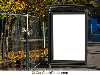 urbain, autobus ville, arrêt, environnement, annonce, vide, panneau affichage