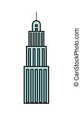 urbain, bâtiment, antenne, tour, icône, gratte-ciel
