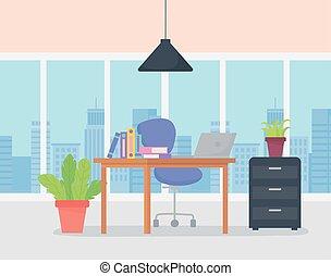 urbain, bureau, lieu travail, chaise, potted, vue, bureau, fenetres, usines, cabinet, ordinateur portable