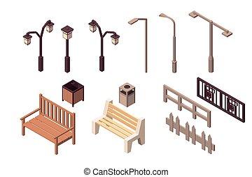 urbain, city., moderne, isolé, collection, élément, environnement, rue