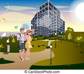 urbain, couple, rue, marche
