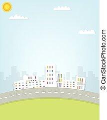 urbain, dessin animé, vue