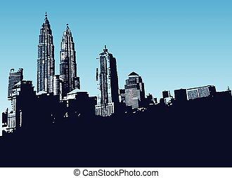 urbain, fond, ville