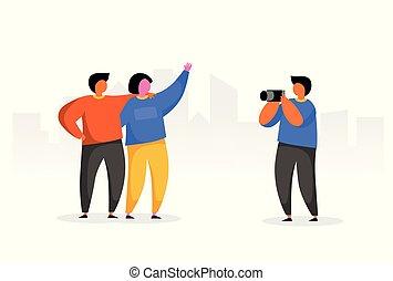urbain, groupe, appareil-photo., gens, vacation., photo, voyage, heureux, caractère, plat, style., prendre, fond, concept., dessin animé, homme