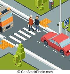 urbain, isométrique, concept, assistant, ville, incapacités, personne, vecteur, rue., croisement, passage clouté, soin, homme