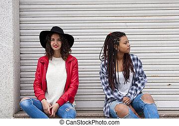 urbain, mode, filles, rue