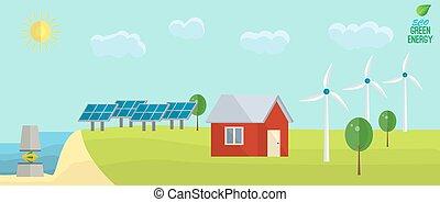 urbain, non, plat, énergie, vent, solaire, vert, concept:, tide., usage, style., paysage