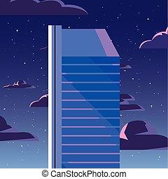 urbain, nuages, gratte-ciel, fond, nuit, tour
