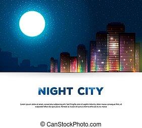 urbain, nuit, fond, ville