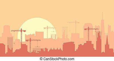 urbain, plat, ou, panorama, coucher soleil, ville, levers de soleil, illustration, vecteur, skyline.