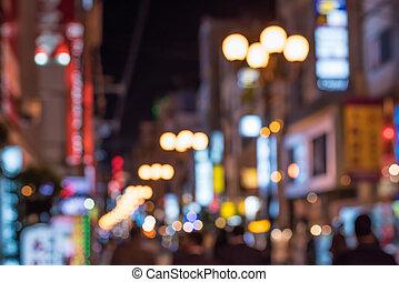 urbain, scène nuit, defocused