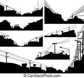 urbain, silhouettes, premier plan