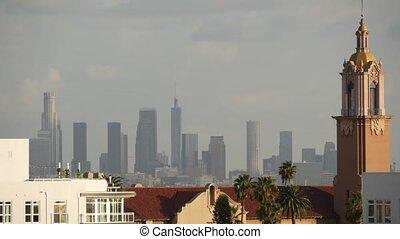 urbain, smog, métropole, californie, angeles, ville, air, fog., pollution, écologie, en ville, skyline., gratte-ciel, cityscape, highrise, usa., visibilité, toxique, brumeux, problèmes, sale, los, bas