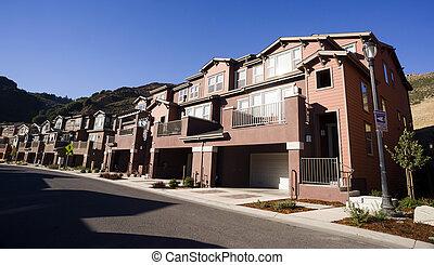 urbain, supérieur, suburbain, classe, milieu, condominiums, position abandonnée, logement