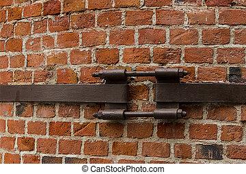 urbain, toile, vieux, mur, style, usine, partie, conception, cheminée, fer, grunge, brique, base, bonded, raie