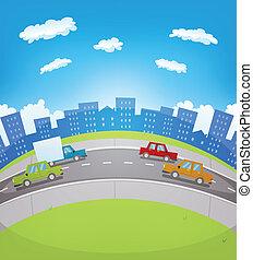 urbain, trafic, dessin animé
