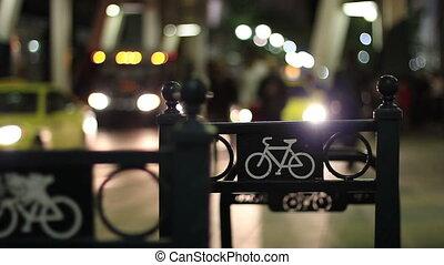 urbain, vélo, vie nocturne, étagère