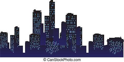 urbain, ville, fond, nuit