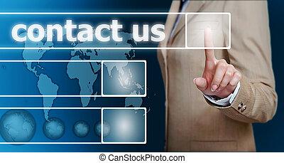 urgent, nous, contact, main, bouton